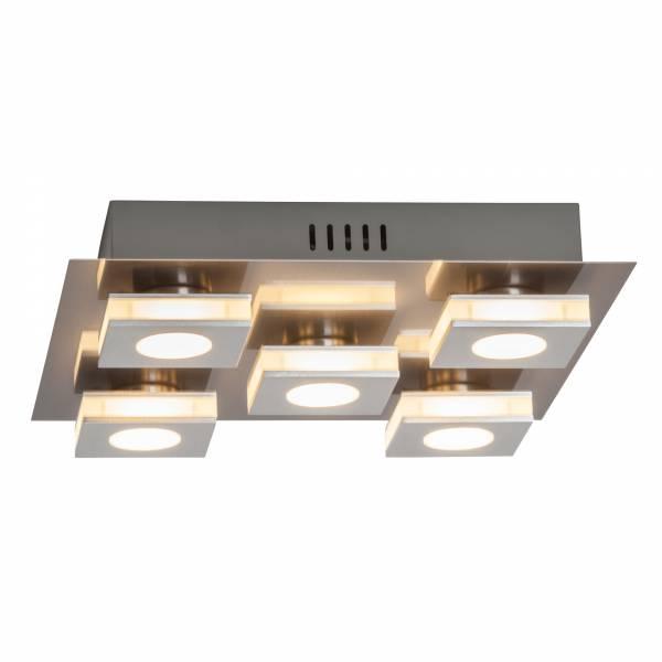 Moderne LED Deckenleuchte, 5x 4W LED integriert, 5x 320 Lumen, 3000K, Aluminium / Kunststoff, nickel / alu