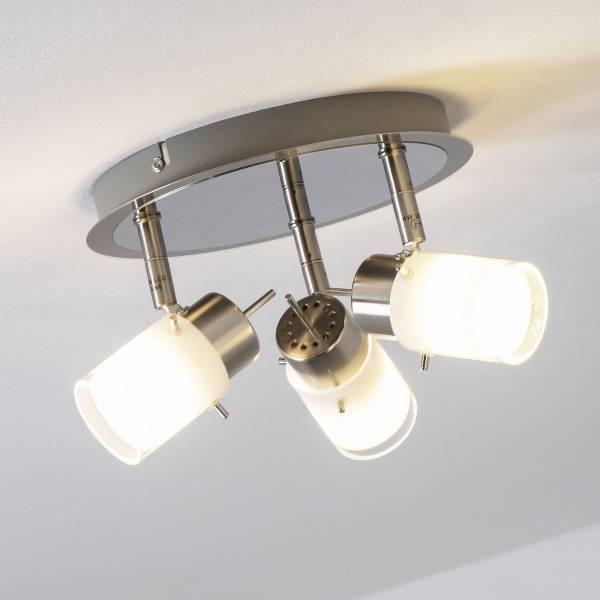 LED Spotrondell, 3-flammig, 3x 4W LED integriert, 3x 400 Lumen, 3000K, Metall / Glas, eisen