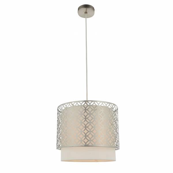 Lightbox dekorative Pendelleuchte im Vintagestil, geeignet für LED Leuchtmittel, höhenverstellbar, 1x E27 max. 40W, Metall/Textil - Weiß/Nickel Matt