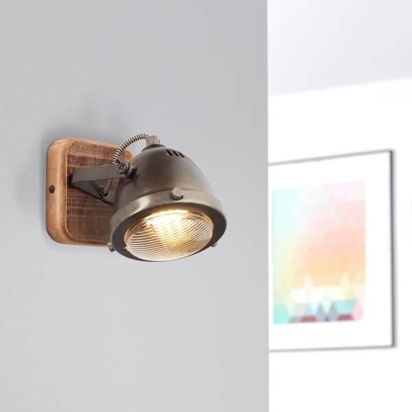 Lightbox Retro Wandleuchte, dimmbar, 1-flammig, LED Wandstrahler innen schwenkbar, GU10 Fassung für max. 5 Watt, Metall, Stahl Braun