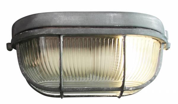 Vintage Wandleuchte / Deckenleuchte, B 28 cm, im Industrial Used-Look, 1x E27 max. 40W, Metall / Glas, grau Beton