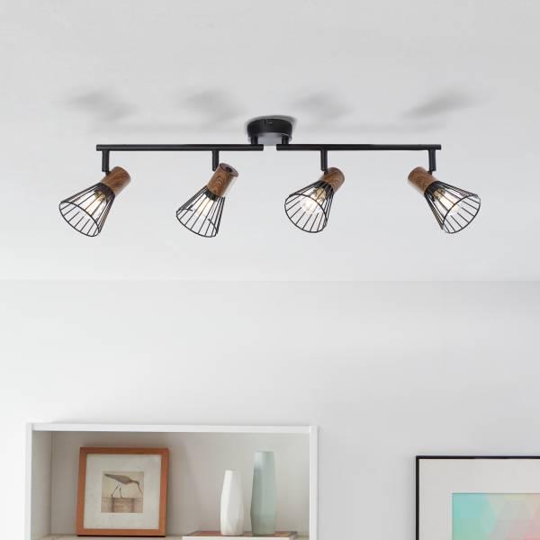Lightbox Deckenstrahler, 4-flammig, drehbar, 4x E14 max. 18 Watt, Metall / Holz, holz dunkel / schwarz matt