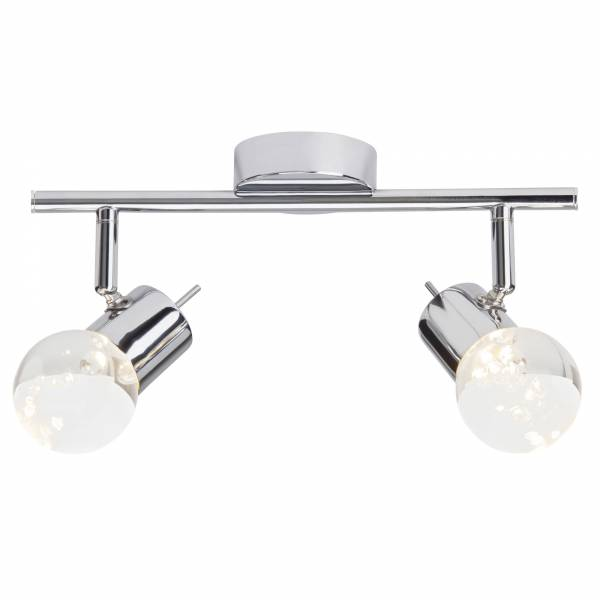 LED Spotrohr, 2-flammig, 2x 4.6W LED integriert, 2x 340 Lumen, 3000K, , Metall / Glas, chrom