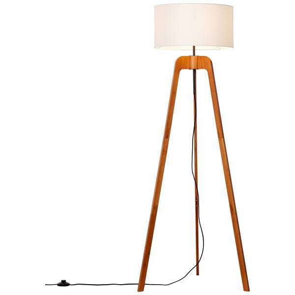 Lightbox Stehleuchte im Nature Stil, mit Fußschalter, für LED Leuchtmittel geeignet, 1x E27 max. 60W, Bambus/Textil - Holz dunkel/weiß