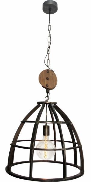 Pendelleuchte 47cm, 1x E27 max. 60W, , Metall / Holz, schwarz antik