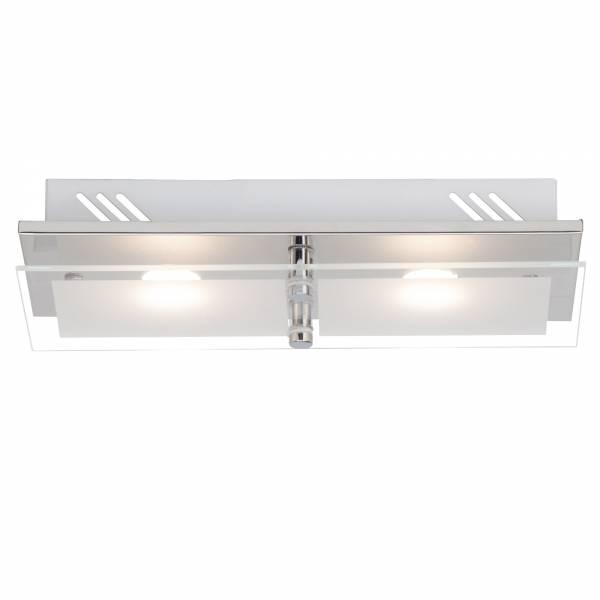 Elegante LED Wand- und Deckenleuchte, 2-flammig, 2x 400 Lumen, 2x 5W, 23cm x 14cm, 3000K warmweiß, Metall / Glas, chrom