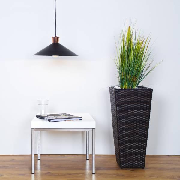 Pendelleuchte im modernen Design mit Kupfer Details, 1x E27 max. 60W, Metall, schwarz / kupfer