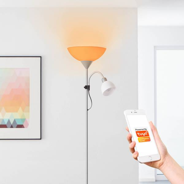 LED Deckenfluter mit smartem Tuya Oberlicht Leuchtmittel 1x E27 9 Watt und Lesearmleuchtmittel, 1x E14 4 Watt, dimmbar, Einstellen der Lichttemperat