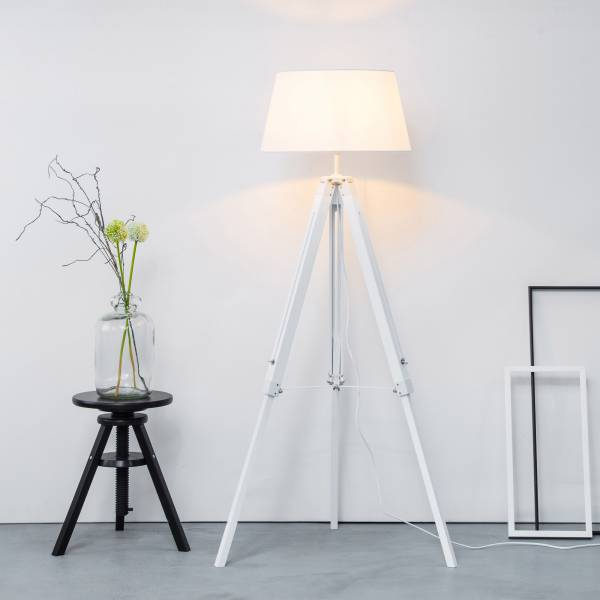 stehleuchte stehlampe mit textilschirm stativ tripod dreibein holz h 145 cm ebay. Black Bedroom Furniture Sets. Home Design Ideas