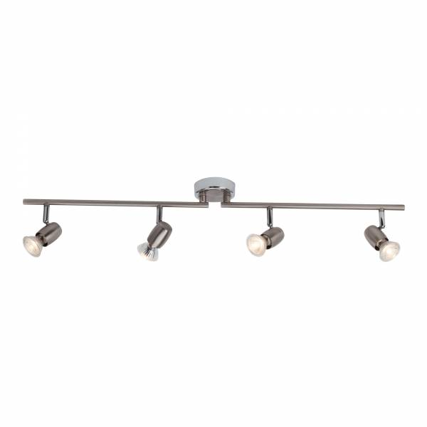 Klassische LED Deckenleuchte / Spotbalken, 4x GU10 2,5W LED inkl., 4x 220 Lumen, 3000K warmweiß, Metall, eisen / chrom