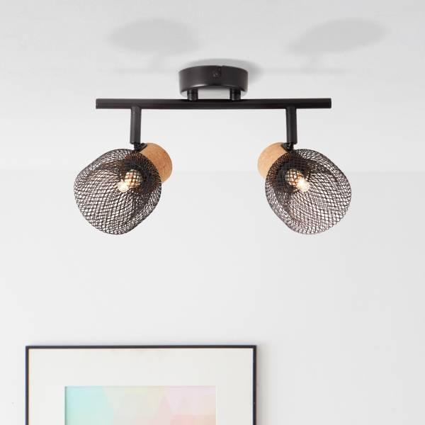 Lightbox Deckenstrahler 2-flammig, schwenkbar, 2x G9 Fassung, max. 6 Watt, Metall / Kork, schwarz matt
