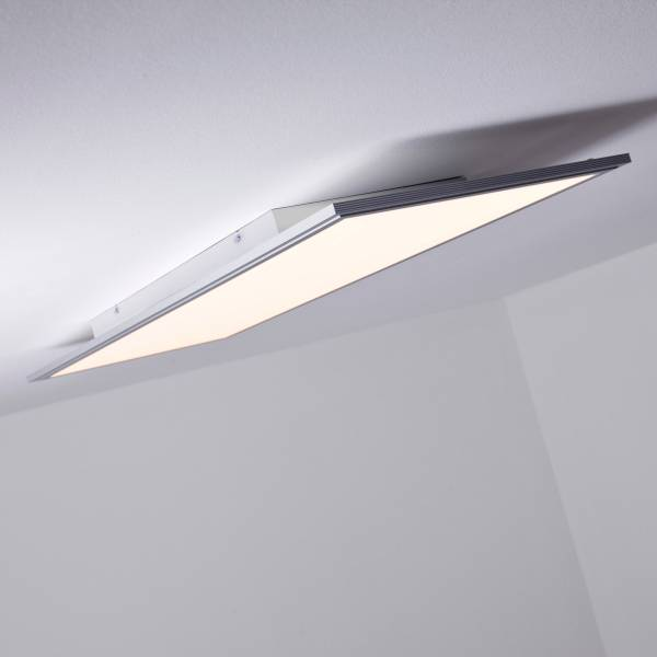 LED Panel Deckenleuchte, dimmbar per Fernbedienung, 100x35cm, 60 Watt, 5000 Lumen, 2700-6500 Kelvin aus Metall / Kunststoff in alu