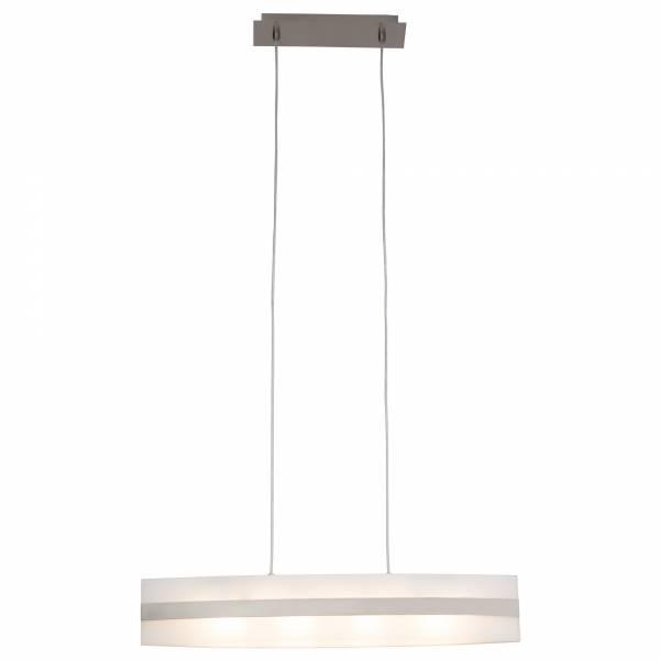 Hochwertige Pendelleuchte, 4-flammig, Höhe 120 cm, G9 4 x max. 33W, Glas, Metall / Glas, eisen / weiß