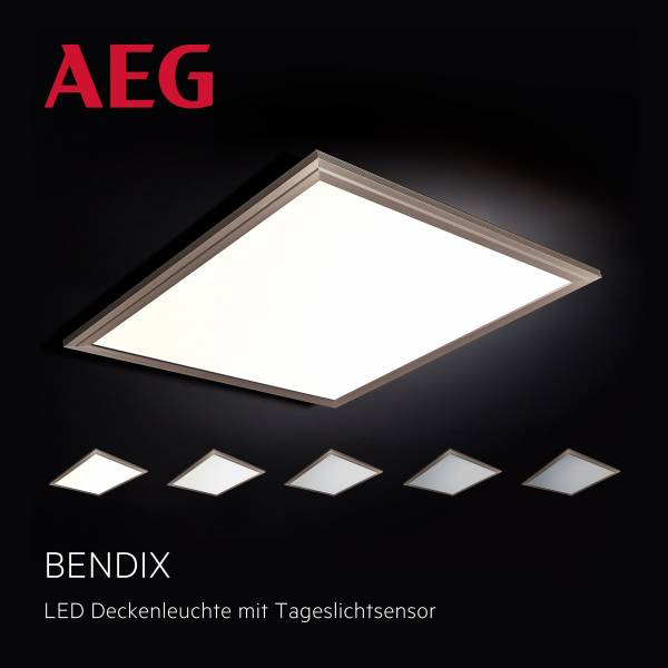 Bendix LED Deckenaufbau-Paneel 42x42cm Tageslichtsensor nickelMetall / Kunststoff, pearl nickel