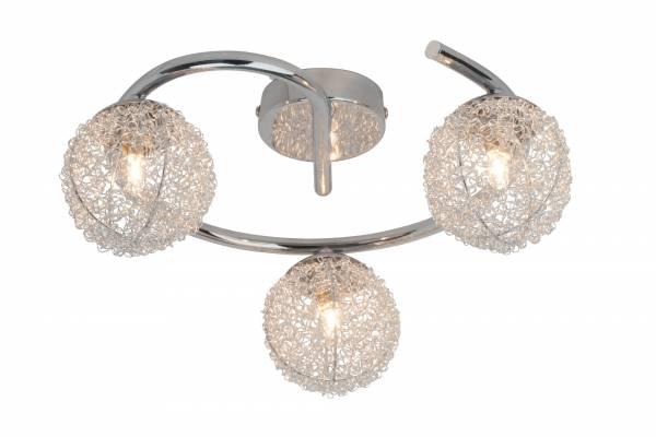 Elegante Spotspirale Deckenleuchte, 3x 33W G9, 3x 458 Lumen, 2800K warmweiß, Metall, chrom