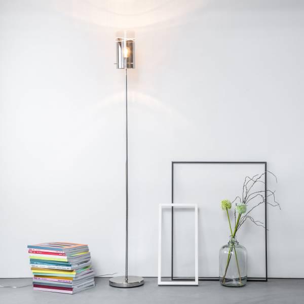 Standleuchte, 1x E27 max. 60W, Metall / Glas, chrom