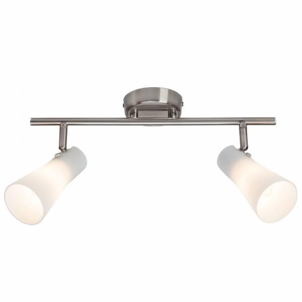 Elegante Deckenleuchte mit weißen Lampenschirmen aus Milchglas, 2x E14 max. 28W, Metall / Glas, eisen chrom / weiß