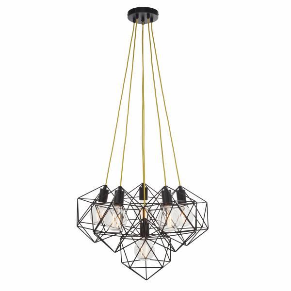 Lightbox dekorative Pendelleuchte im Industriestil, geeignet für LED Leuchtmittel, höhenverstellbare Kette, 6x E27 max. 40W, Metall - Schwarz Matt