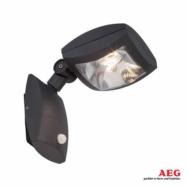 AEG 10W LED Außenwandleuchte Guardiano mit Bewegungsmelder, IP54, 1100 Lumen, 3000K, Aluminium / Kunststoff, anthrazit