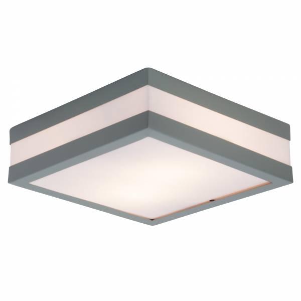 Funktionale Außenwandleuchte im schlichten Design, 2x E27 max. 11W, Edelstahl / Kunststoff, grau