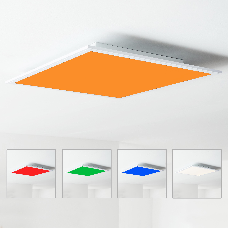 LED Panel Deckenleuchte, 20x20cm, dimmbar, RGB Farbwechsel per  Fernbedienung steuerbar, 20 Watt, 20 20 Kelvin; Metall/Kunststoff, Weiß