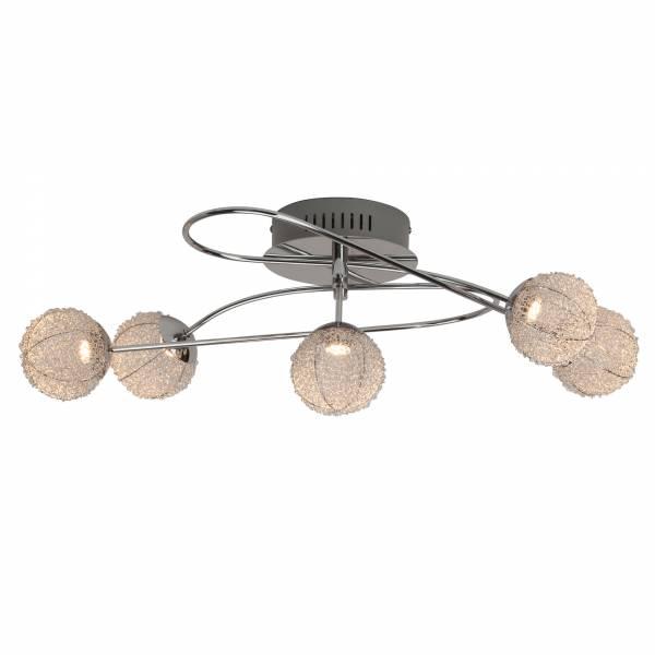 Dekorative LED Deckenleuchte, 5x 5W LED, 5x 400 Lumen, 3000K warmweiß, Metall / Aluminium, chrom / alu