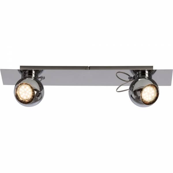 Moderner LED Spotbalken / Deckenleuchte, 2x 3W GU10 LED inkl., 2x 250 Lumen, 3000K warmweiß, Metall, chrom