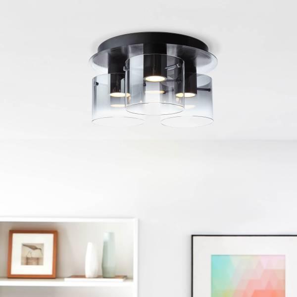 Lightbox LED Deckenleuchte 3-flammig, 24 Watt, 3-Stufendimmer, Glas / Metall, schwarz / rauchglas