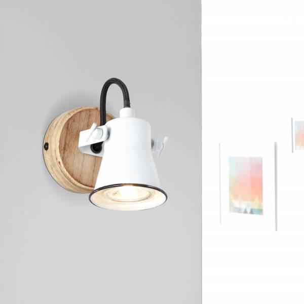 Landhaus Wandleuchte in Emaille Optik, 1x GU10 max. 5 Watt aus Metall / Holz in weiß / holz hell