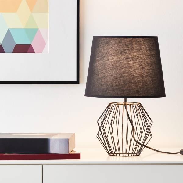 Tischleuchte, 1x E27 max. 60W, Textil / Metall, schwarz