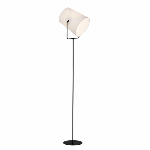 Standleuchte, 1-flammig, 1x E27 max. 60W, , Metall / Textil, schwarz / weiß