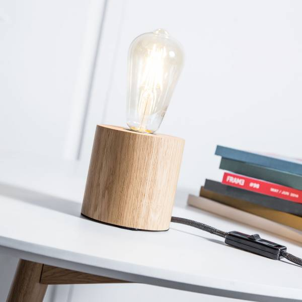 Cube Tischleuchte aus Holz Zylinder Look mit Textilkael in Schwarz, 1x E27 max. 60W, Holz, eiche