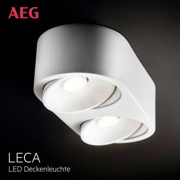 AEG LED Wand- und Deckenleuchte, 2-flammig, 2x 9W LED integriert (COB-Chip), 2x 850 Lumen, 3000K, Aluminium-Druckguss, weiß