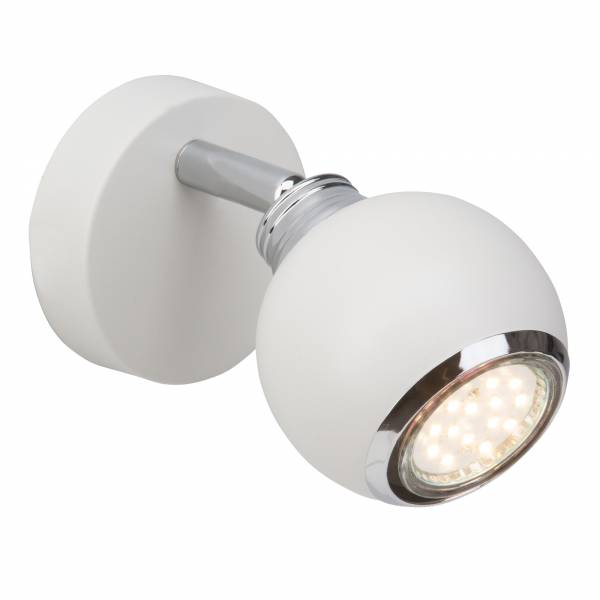 Moderner 3W LED Wandspot im schlichten Design, 1x GU10 3 LED inkl., 250 Lumen, 3000K warmweiß, Metall, weiß / chrom