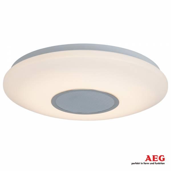 AEG LED Deckenleuchte, mit Bluetooth Lautsprecher für Musik, dimmbar, ø 38cm, 25W LED integriert, 1800 Lumen, 3000K warmweiß