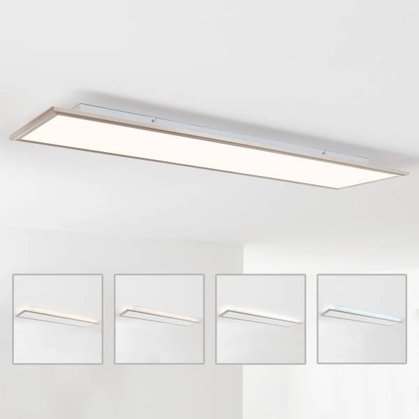 LED Panel Deckenleuchte mit indirekter Hintergrundbeleuchtung, 120x30cm, 62 Watt, 4540 Lumen, 2700-6200 Kelvin aus Metall / Acryl in nickel eloxiert