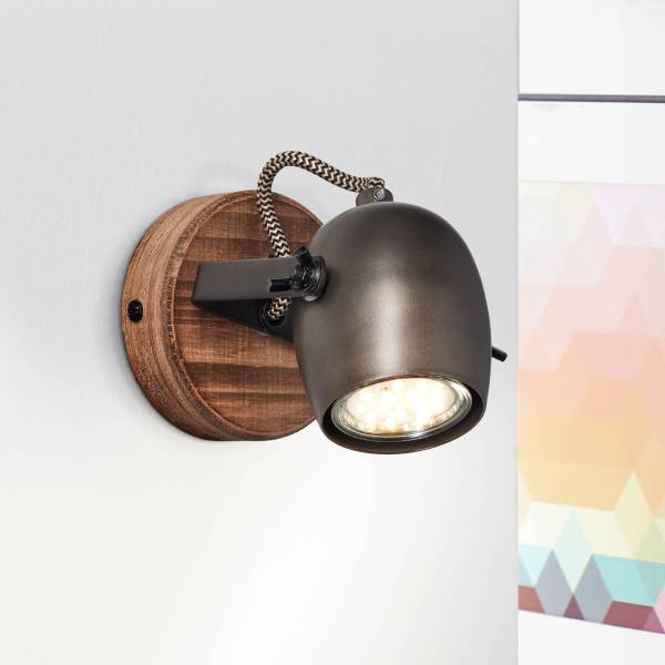 Lightbox Wandstrahler, 1x GU10 max. 20 Watt aus Metall / Holz in schwarz stahl