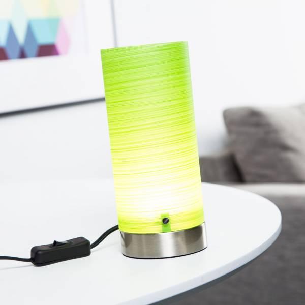 Dekorative LED 3W Tischleuchte, 150 Lumen, H 20 cm, Metall / Glas, eisen / grün