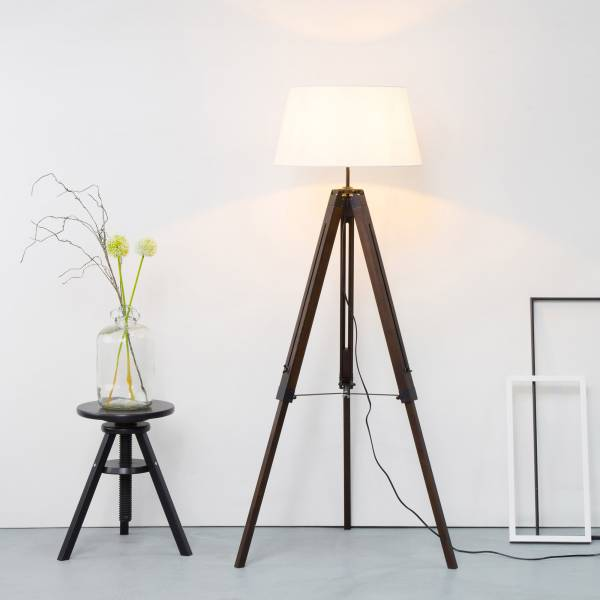 stehleuchte stehlampe textilschirm stoffschirm tripod stativ dreibein aus holz ebay. Black Bedroom Furniture Sets. Home Design Ideas