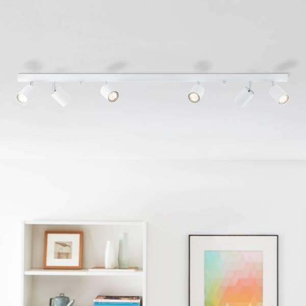 Lightbox Decken Strahler Spotbalken 6 flammig schlicht 119x9cm Köpfe schwenkbar 6x GU10 Metall, weiß