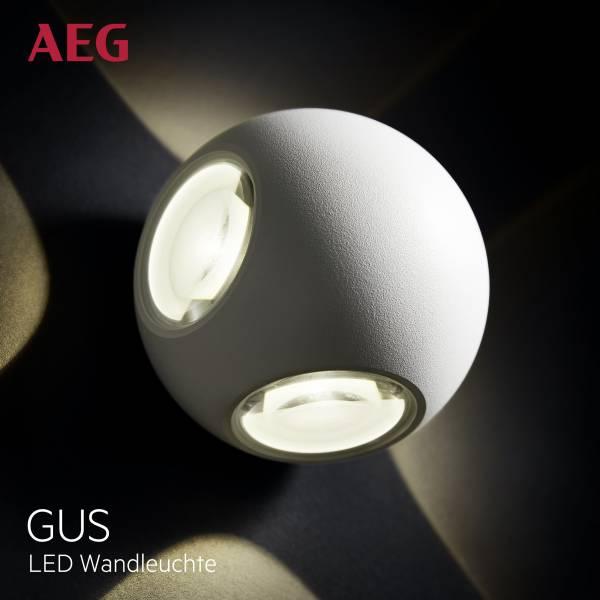 AEG LED Außenwandleuchte, 4-flammig, 4x 3W LED integriert (SMD-Chip), 4x 144 Lumen, 3000K, Aluminium-Druckguss / Glas, weiß