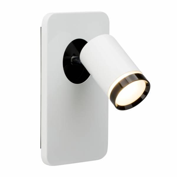 LED Wandspot, 1x 5W LED integriert (COB-Chip), 1x 450 Lumen, 3000K, , Metall / Acryl, weiß-glänzend / schwarz