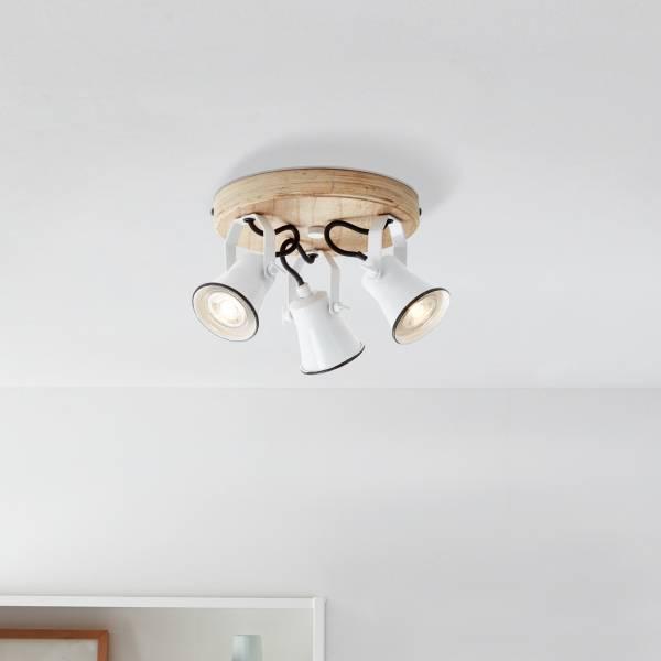 Landhaus Deckenleuchte in Emaille Optik, 3x GU10 max. 5 Watt aus Metall / Holz in weiß und hellem Holz