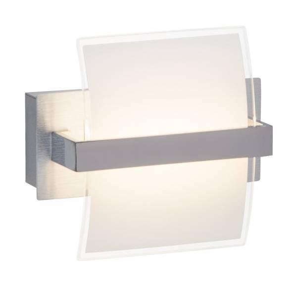LED 5W Wandleuchte im modernem Design mit Kippschalter, 220 Lumen, 3000K warmweiß, Metall / Glas, chrom