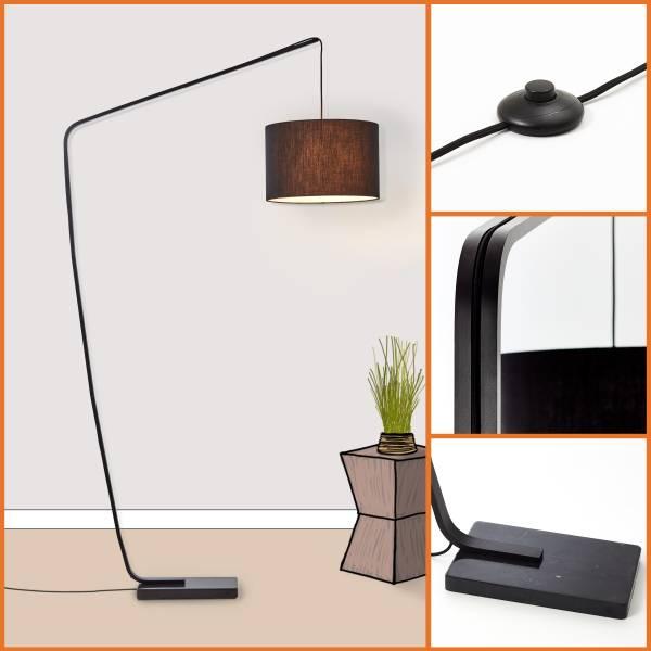 Bogenstandleuchte 2,1m, 1x E27 max. 40W, Metall / Textil / Marmor, schwarz
