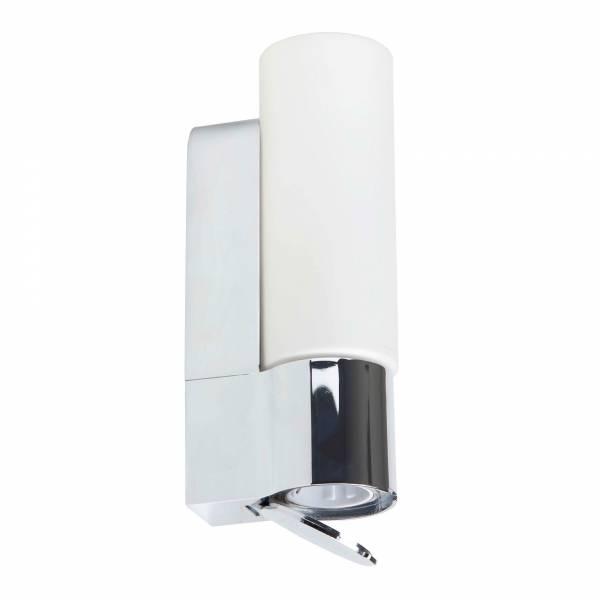 Badezimmer Wandleuchte mit integrierter Steckdose, IP44, E14 max. 40W, Metall / Glas, chrom