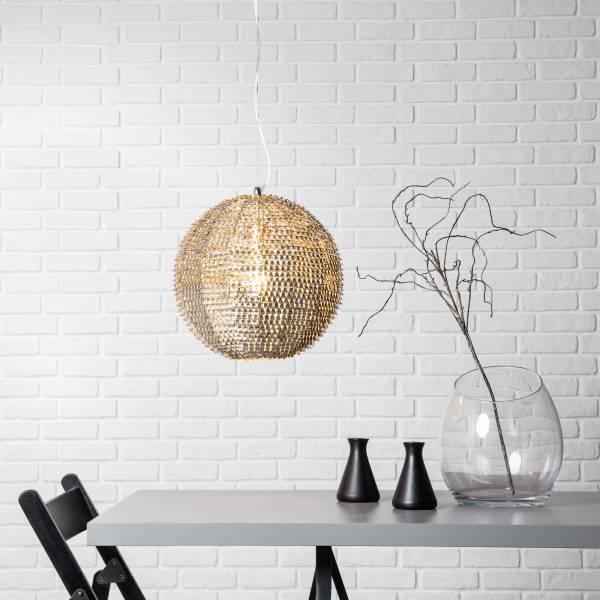 Dekorative Pendelleuchte im exklusiven Design, H 120 cm, 1x E27 max. 60W, Metall, nickel hell