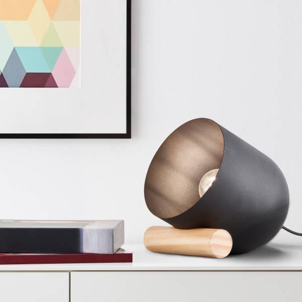 Dekorative Tischleuchten, 1x E27 max. 25 Watt aus Metall / Holz in schwarz / holzfarbend