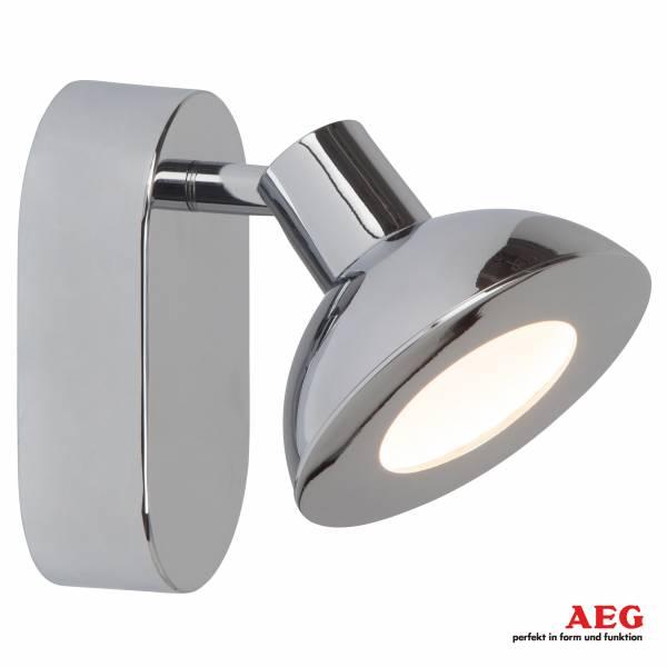 AEG LED Wandspot, 1x 5W LED integriert, 1x 500 Lumen, 3000K, , Alu-Druckguss, chrom