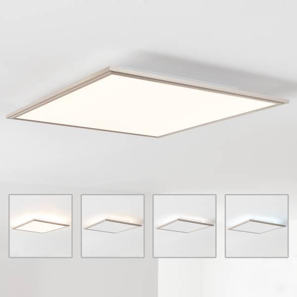 LED Panel Deckenleuchte mit indirekter Hintergrundbeleuchtung 42x42cm, 32 Watt, 2700 Lumen, 2700-6200 Kelvin aus Metall / Acryl in nickel eloxiert